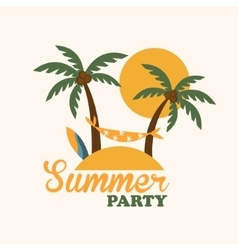 Tropical holiday island with palm trees flat vector