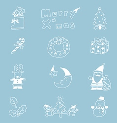 Christmas icon set hand drawn vector