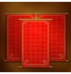 Red scroll with asian ornament vector