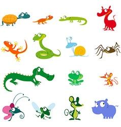 Simple animals cartoon - amphibians reptiles and vector