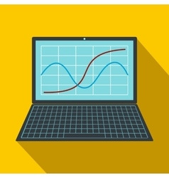 Laptop with business graph icon flat style vector