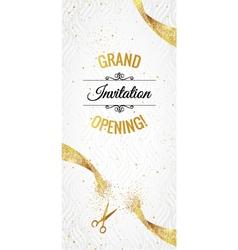 grand opening glitter white banner vector image
