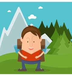 Funny man tourist in cartoon style in forest with vector image