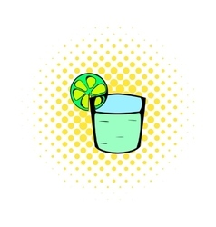 Tequila in a glass with lime icon comics style vector