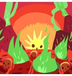 Cartoon sunrise in hell flat greeting card vector