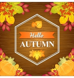 Autumn wooden background vector image
