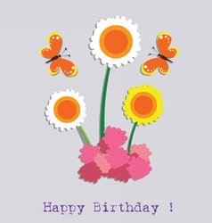 Birthday flower and butterfly vector