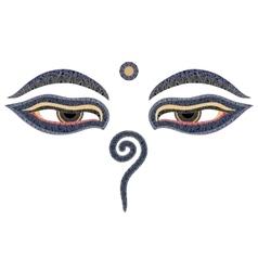 Buddha eyes Nepal symbol of wisdom and vector image