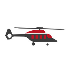 Cartoon helicopter or rotor plane icon in flat vector