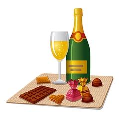 champagne and candy vector image vector image