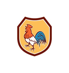Chicken rooster crowing looking up shield retro vector