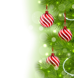 Christmas glowing background with fir branches and vector
