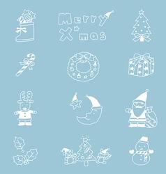 Christmas Icon Set hand drawn vector image