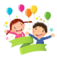 cute boy and girl with balloon and blank ribbon vector image