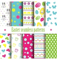 Cute easter seamless patterns vector image