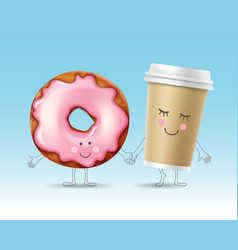 donut and coffee character vector image
