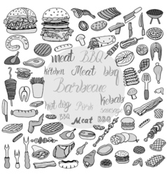 Doodle bbq party icons set vector