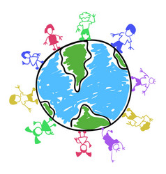 doodle color kids around the world vector image