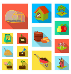 Farm and agriculture flat icons in set collection vector