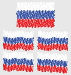 Flat and waving hand draw sketch flag of russia vector