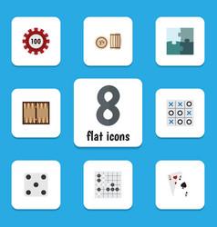 flat icon entertainment set of gomoku ace dice vector image
