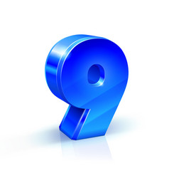 Glossy blue nine 9 number 3d on vector
