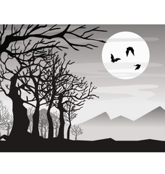 Halloween bat with tree vector
