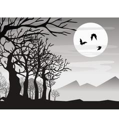 Halloween bat with tree vector