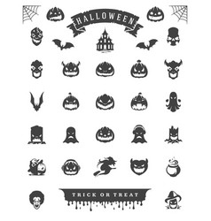 halloween celebration icons and objects set retro vector image