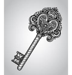 Hand drawn antique ornate key vector