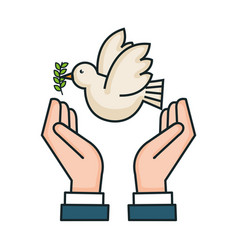 Hands peace pigeon branch olive symbol vector