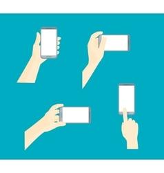 Human hand using mobile smart phone set vector