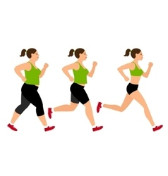 Jogging weight loss woman vector