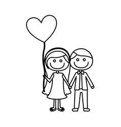 Monochrome contour of caricature of couple him in vector