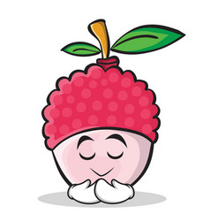 Praying face lychee cartoon character style vector