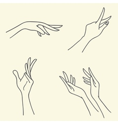 Set of Symbolic signs with hands vector image vector image