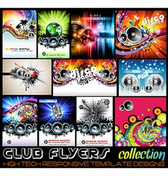 Stunnig disco club flyers collecton vector