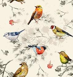 vintage seamless texture of little birds vector image