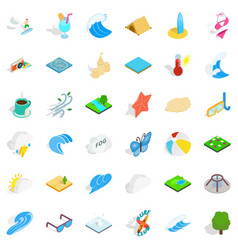 Water creation icons set isometric style vector