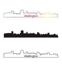 Wellington skyline linear style with rainbow vector