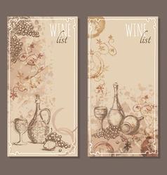 Wine list cards Menu cards sketch vector image