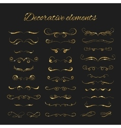 Dividers set gold ornate design Golden vector image