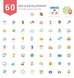 Set of full color seo and development icons vector