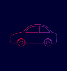 car sign   line icon with vector image