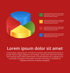 Pie chart on isolated background isometric pie vector