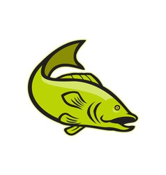 Largemouth bass jumping cartoon vector