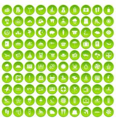 100 seaside resort icons set green circle vector