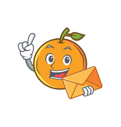 Orange fruit cartoon character with envelope vector
