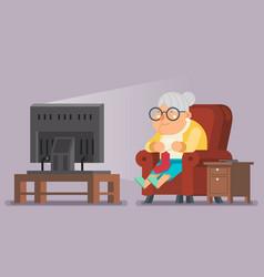 Old lady watching tv sit armchair cartoon vector