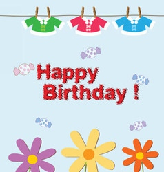 Birthday fashion kids cute vector
